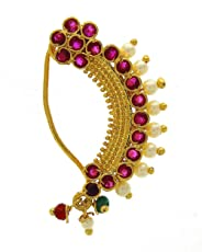 Anuradha Art Pink Colour Flower Styled Classy Looking Traditional Maharashtrian Nath Nose Ring For Women/Girls