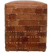 HSM Collection Pouf, Cuir, Rouge Cognac, 35x35x45