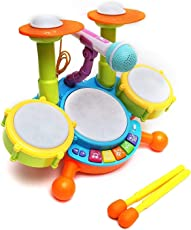 IndusBay Colorful Musical Jazz Drum Set with Mic, Drumstick and Flashing Lights Fun Beat orcestra Set for Kids