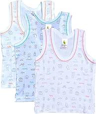 Cucumber New Born Baby Unisex Regular Fit Half Sleeve Printed Cartoon Print Brief white Hosiery Vest Top Undershirt For Just born Infants Super Soft100% Combed Cotton Kids Inner Wear Baniyan