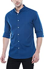 Dennis Lingo Men's Solid Chinese Collar Blue Casual Shirt