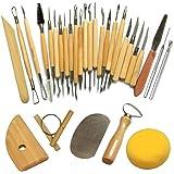 Outil de Poterie Cozyswan Outils de Sculpture Argile Burin pour Potier / Artiste de Céramique Kit 30 Pcs