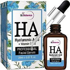 StBotanica Hyaluronic Acid Facial Serum + Vitamin C, E - 20ml - Under Eye Dark Circles, Anti Aging, Skin Fairness Brightening