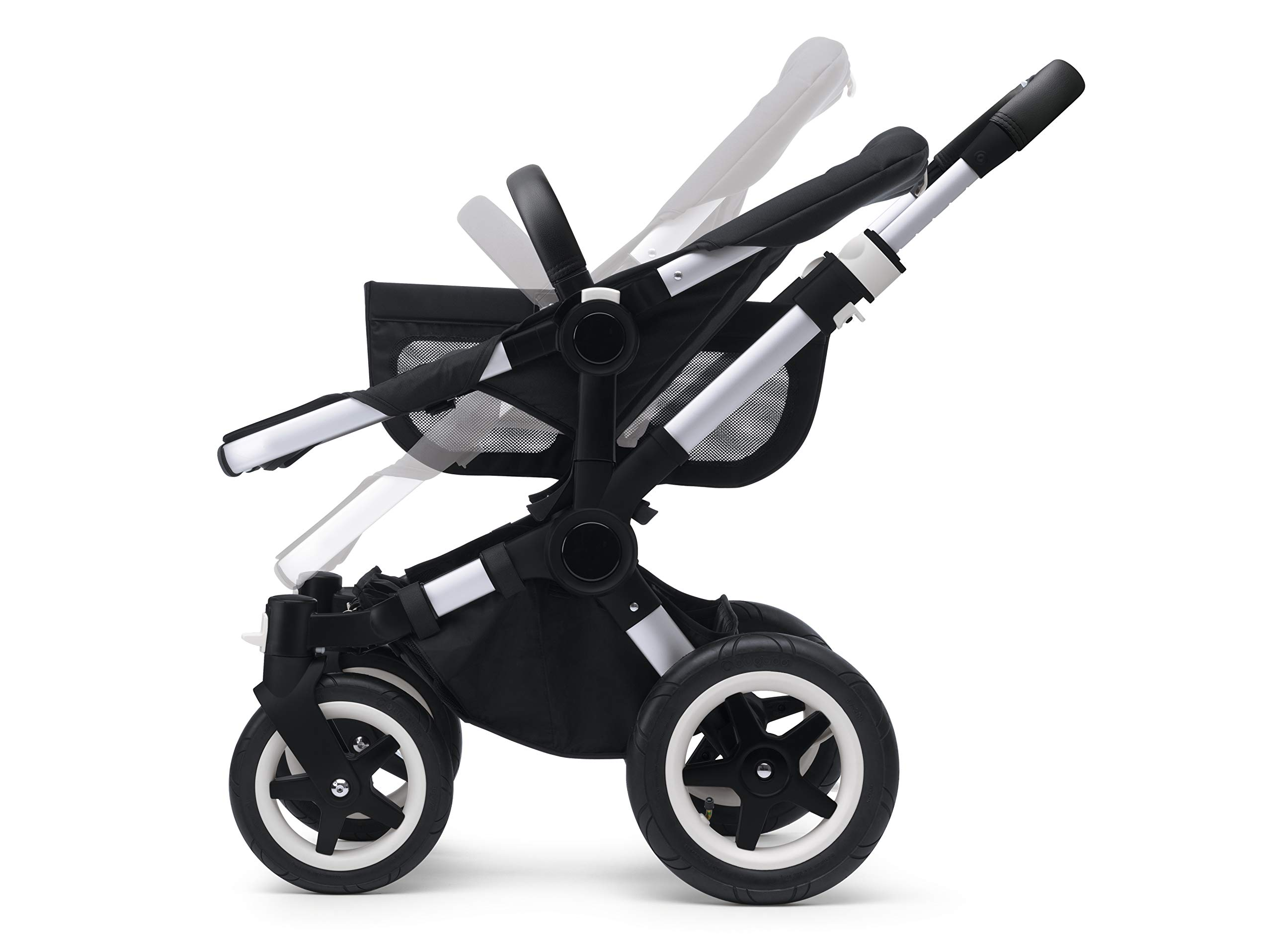 Bugaboo Donkey 2 Mono, 2 In 1 Pram and Pushchair, Extends Into Double Stroller, Black/Soft Pink Bugaboo The name donkey says it all; it's the bugaboo pushchair with the most storage space The bugaboo donkey2 mono can be easily extended to create even more space in the expandable side luggage basket & underseat basket Use extension sets to convert the bugaboo donkey2 mono into a duo or twin pushchair in just three clicks (extension sets sold separately) 7