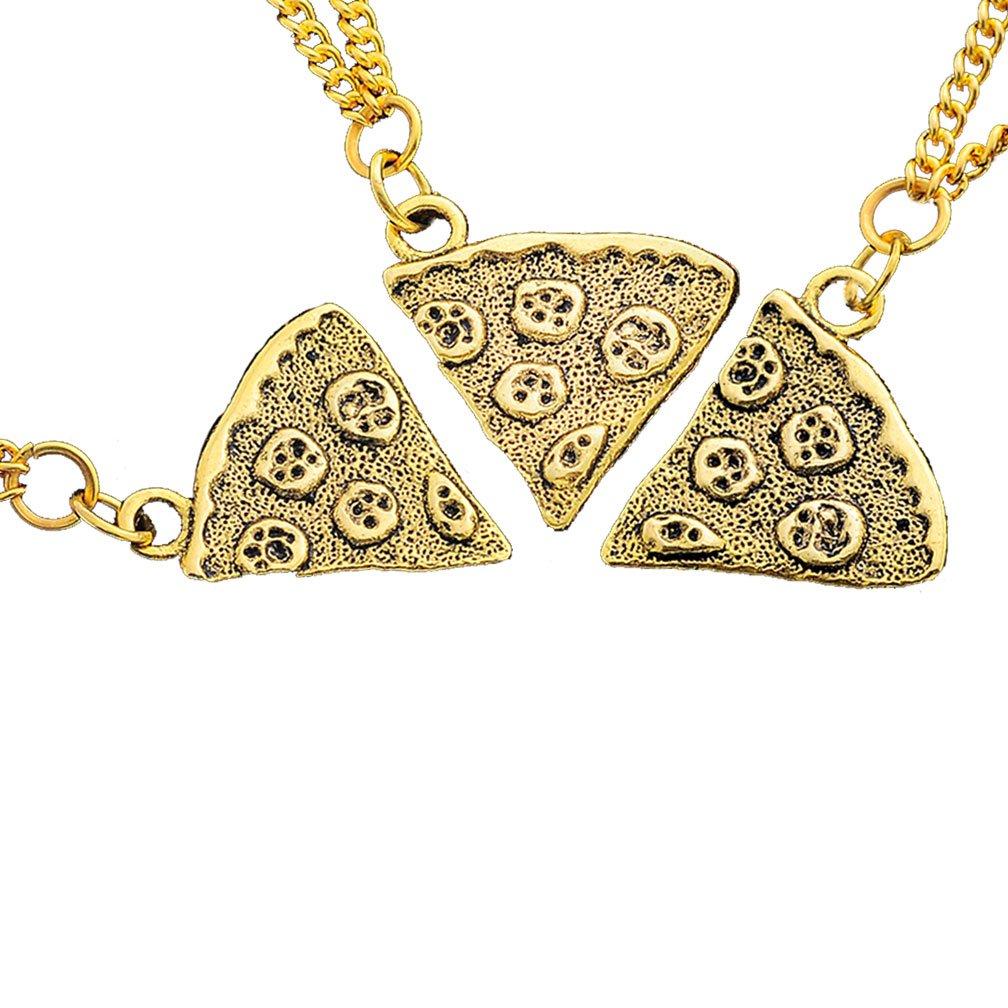MJARTORIA Antik Gold Farbe Pizza Slice Halskette freundschaftsketten Stück 3