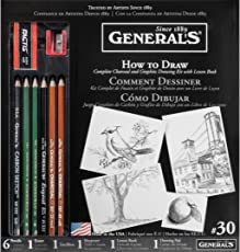 General Pencil How to Draw Complete Charcoal & Graphite Drawing Kit with Lesson Book - Set of 11 Pieces
