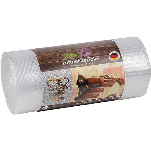 Kitchen Helpis Pluriball a bolle d'aria di alta qualità 10 m x 40 cm (75 µ di spessore), ideale come pellicola di imballaggio per porcellana e oggetti fragili, pellicola per la spedizione - un rotolo