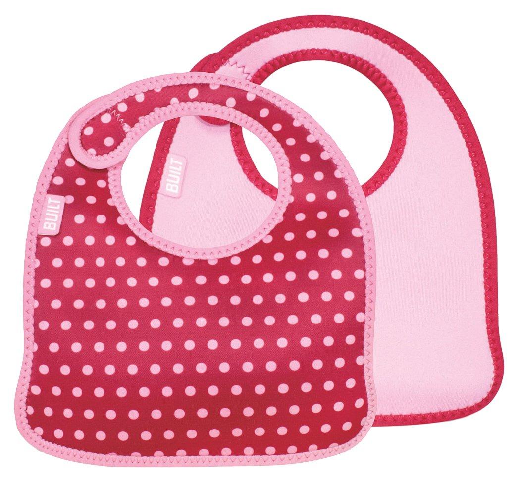 Built NY - Bavaglino per neonato a pois, set da 2 pz, colore: Rosa