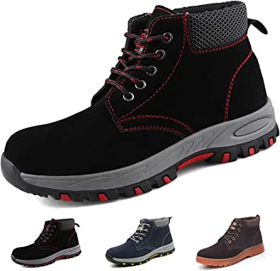 Gainsera Safety Boots Men Women Lightweight Work Boots with Steel Toe Cap Breathable Kevlar Safety Shoes Trainers Puncture Proof Comfy Work Shoes