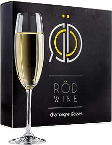 RÖD WINE Calici Champagne - Bicchieri Spumante in Cristallo Infrangibili Senza Piombo - Flute Prosecco - Ideali per Degustazione Vino, Compleanno, Anniversario o Matrimonio - Set da 3, 220 mL