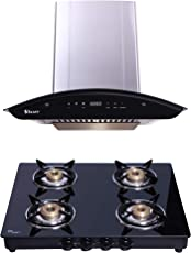 Seavy Auto Clean Kitchen Chimney Combo with Gas Stove, 60cm 1200m3/hr Suction Chimney + 4 Burner Cooktop (Ciaz 60)