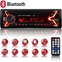 Autoradio Bluetooth Mains Libres, 7 Couleurs d'Eclairage FM Stéréo Radio 1 din Poste Radio Voiture 4x60W Radio Voiture…