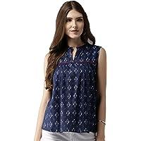 Amayra Women's Cotton Straight Top(Blue)