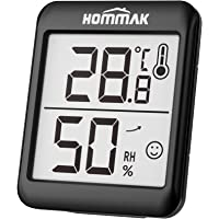 Hommak Room Thermometer Hygrometer, 2.3-inch Easy Reading Large Display Palm-sized Humidity Meter with Humidity Trends, 3 Mounting Options Thermometer Indoor, For Home/Baby Room/Greenhouse/Cellar