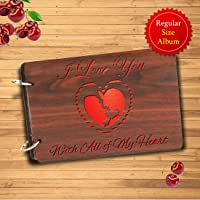 Sehaz Artworks with All of My Heart Wooden Scrapbook Photo Album for Memorable Gift on Boyfriend Girlfriend Husband Wife Spouse Birthdays, Valentines Day, Anniversary, Monthsary for Couples