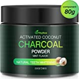 Aktivkohle Pulver Zahnaufhellung 80g MayBeau Groß Premium Kokosnuss Natürliche Coconut 100% Activated Charcoal Teeth Whitening Powder Bleaching Zahnreinigung für Weiße Zähne Mint Flavour