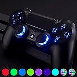 eXtremeRate PS4 Tasten Knöpfe Button Thumbsticks D-Pad Steuerkreuz DTF LED Kit für Sony Playstation 4 Dualshock 4 Controller(Leuchttaste)