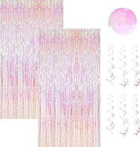 2 Pack 1 2 45m Metallic Lametta Vorhänge Mit 6 Stücke Deko Spiralen Girlande Folie Vorhang Fransen Vorhänge Lametta Vorhänge Dekoration Für Weihnachten Geburtstag Hochzeit Hintergrund Photo Amazon De