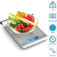 Bilancia da Cucina  5Kg 1g Bilancia Elettronica Digitale Alta Precisione Misurazione Display LCD Multifunzione da Cucina e Acciaio Inossidabile Usato Come Sveglia  2 Batterie Incluse   argento