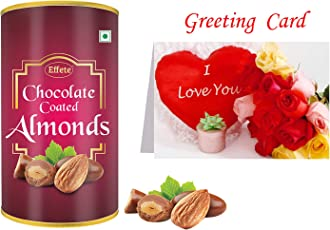 Effete Chocolate Coated Roasted Almond Chocolate - 96 Grams   (1) Greeting Card  