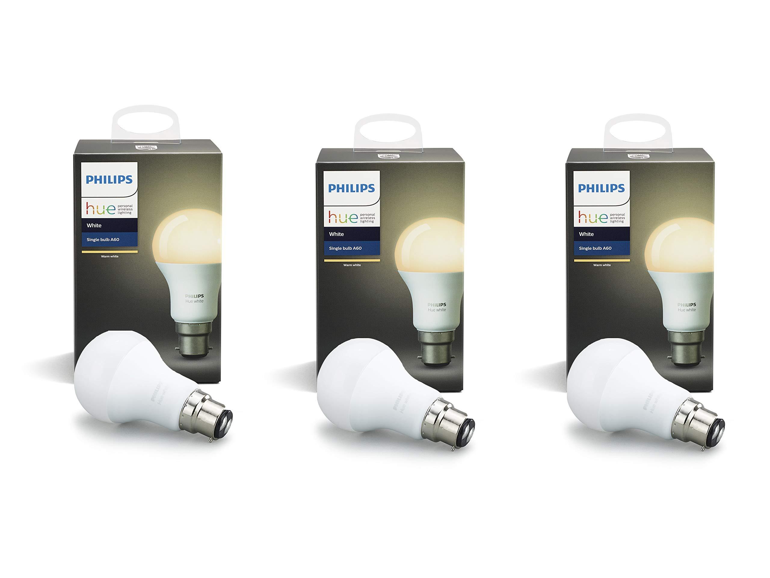 Philips Hue White Personal Wireless Lighting LED B22 1 x 9 W Ampoule à Culot à Baïonnette, [Apple Homekit Enabled] Fonctionne avec Philips Hue