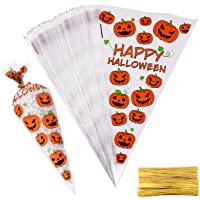 MIAHART 100 Counts Halloween Cone Cellophane Bags Pumpkin Treat Candy Bags with Gold Twist Ties for Halloween Party Favor