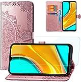 Yohii Cover Xiaomi Redmi 9 + Pellicola Protettiva in Vetro Temperato, Flip Caso in Portafoglio Slot Schede Chiusura Magnetica Custodia in PU Pelle Stampata Mandala, Case per Xiaomi Redmi 9 - Oro Rosa