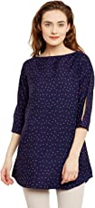 Ruhaan's Women's Crepe Navy Blue Color Star Printed Tunic (BS_7046)