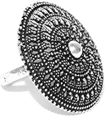 prita Oxidised Silver Toned Textured Adjustable Ring for Women(Silver)