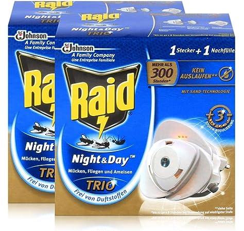 Raid Night Day Trio Nachfuller Insekten Stecker Bis Zu 300 Stunden Amazon De Drogerie Korperpflege