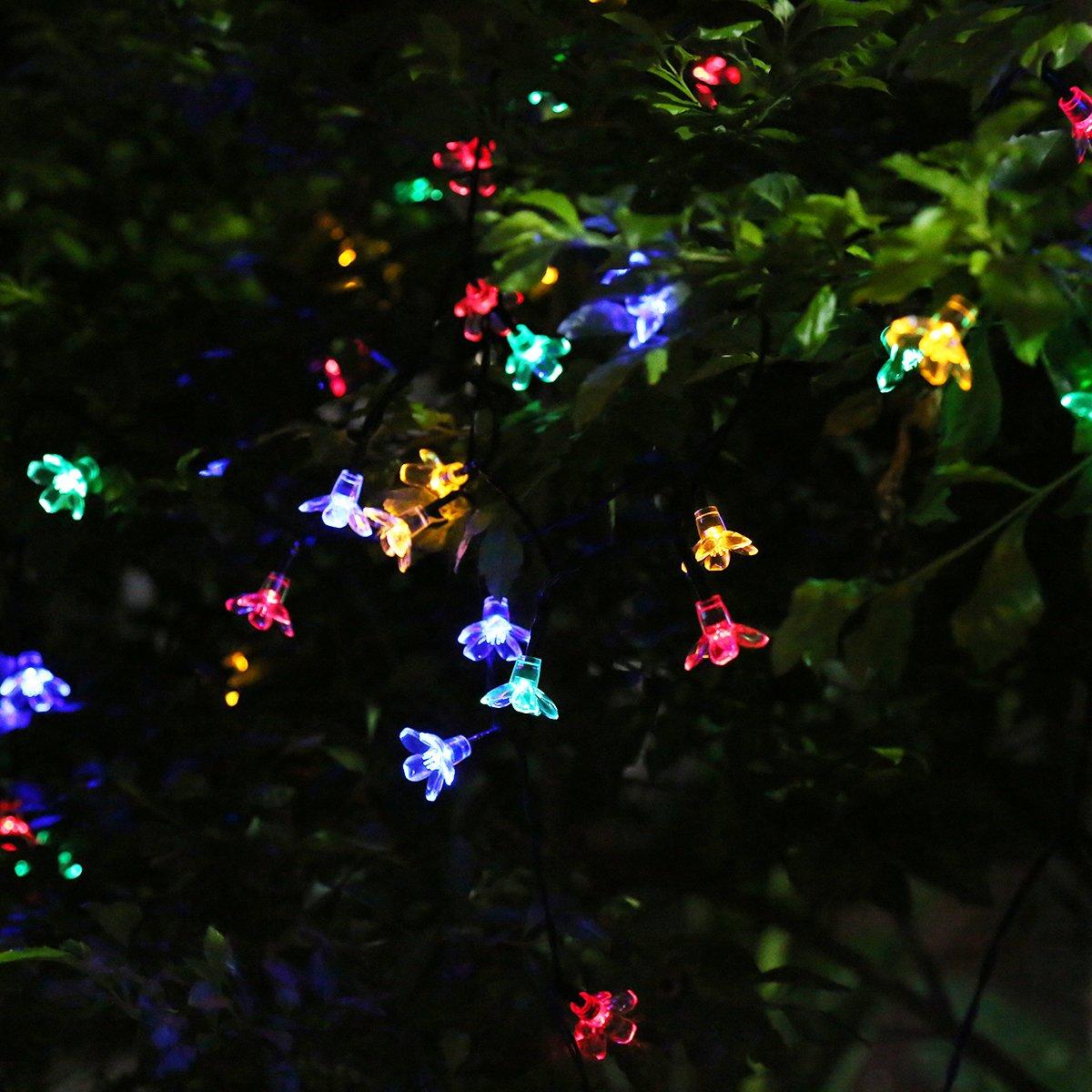 5d82a6f43f3b Guirlande Lumineuse Solaire, Pomisty Eclairage Décoratif Multicolore en  Forme de Fleur, 6.8 Mètres Etanche