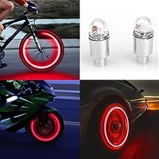 Mumustar Car Bicycle Bike Wheel Lights Spoke Valve Caps Led Light Lamp , Red,2Pcs