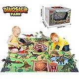 BeebeeRun Dinosaurier Spielzeug Set 24 Stücke Einschließlich Dinosaurier Figuren,Bäumen,Spielmatte,Spielzeug Geschenke für Kinder 3 4 5 6 Jahre Jungen Mädchen