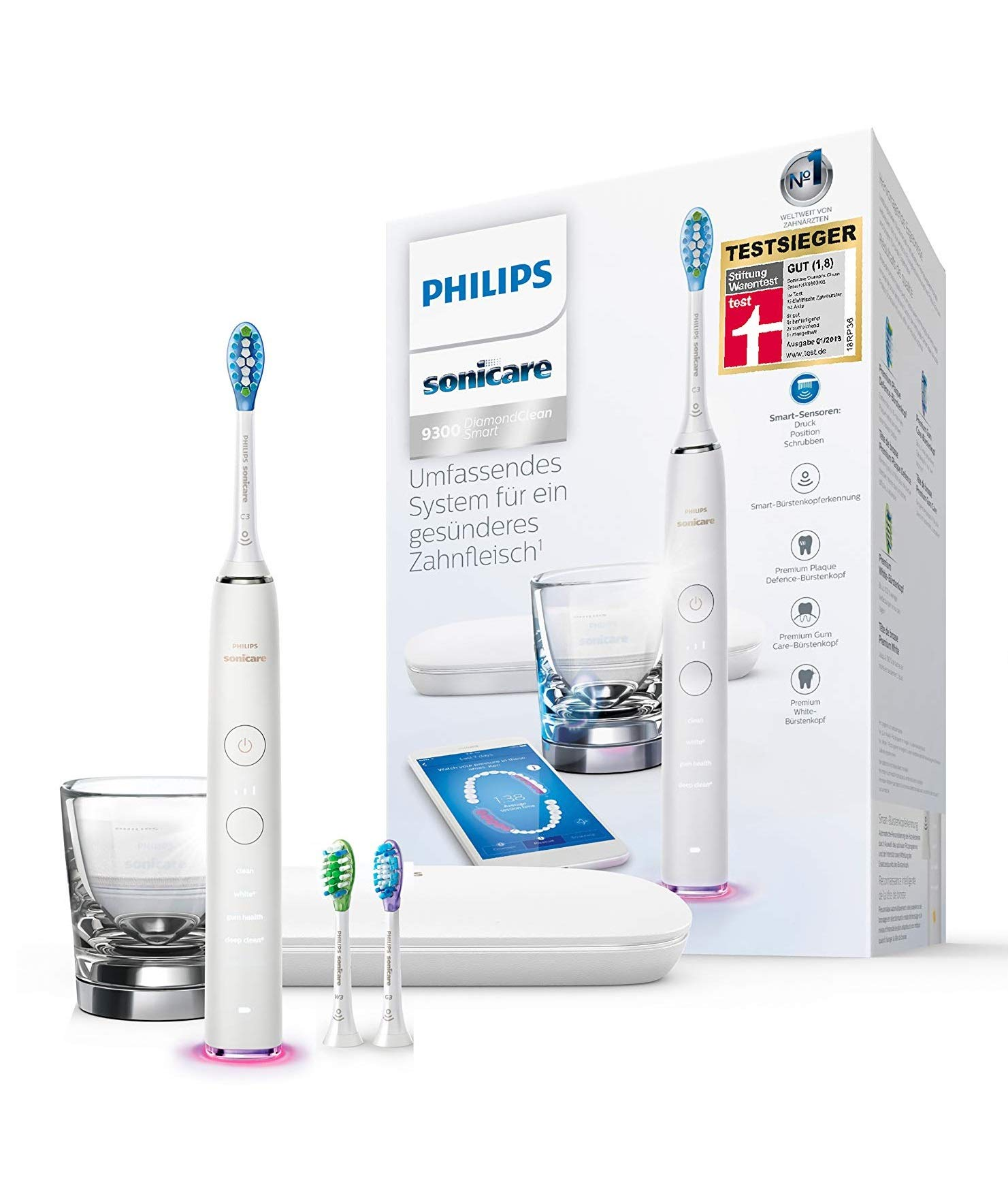 Philips Sonicare HX9903/03 DiamondClean Smart Elektrische Zahnbürste mit Schalltechnologie, Ladeglas, Reiseetui, weiß