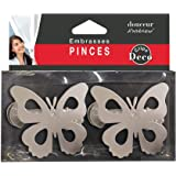 EVIDECO L3094102 Lot de 2 Pinces Papillons M/étal Blanc Brillant Grand Mod/èle Bois Dense Gris 3 W x 2 H x 1.1 D