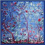 TIANLU Simulazione strettamente Sciarpa Sciarpa Sciarpa quadrato foulard di seta di emulazione della giungla foulard di seta,blu,90*90cm (merci a lungo termine)
