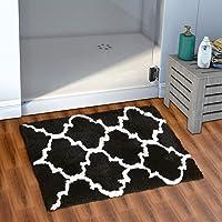AEROHAVEN™ Glorious Super Soft Microfiber Abstract Moroccan Designer Anti Slip Bathmat (Black, 40 cm x 60 cm)