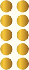 Allegra 45mm Serrated Edge Gold Foil Embossing Labels