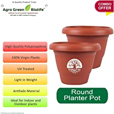 Green and Pure - Premium Quality 14 Inch Round Flower Planter | Planter Pot | Plant Containers | Plastic Pot Brown Colour
