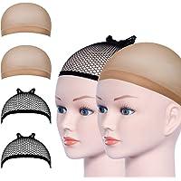 URAQT Parrucca Tappi, 4 Pezzi Calotte per Parrucche di Nylon, Unisex Copricapo Elastici a Rete, Copricapo di Parrucche…