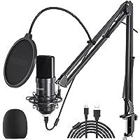 Peradix USB Kondensator Mikrofon für PC und Laptop, Studioaufnahme Mikrofon Kit mit Mikrofonständer, Stoßdämpferhalter…