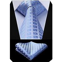 BIYINI Cravatta a quadri da uomo Fazzoletto da uomo classico fazzoletto Jacquard intrecciato e fazzoletto da taschino