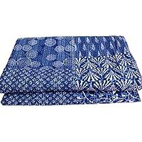 Khushvin Handmade Cotton Indian Decor Vintage Bohemian Patchwork Coverlet Gudri Kantha Quilt Throw/Bedspread , Indigo