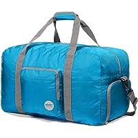 Faltbare Reisetasche 60-100L Superleichte Reisetasche für Gepäck Sport Fitness Wasserdichtes Nylon von WANDF (Blau, 60L)