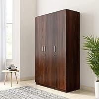 Amazon Brand - Solimo Alpha Engineered Wood Wardrobe Imperial Teak , 3 Doors