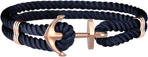 Amtier Unisex Anker Armband Handgefertigt Nylonseil mit Edelstahl Graviert