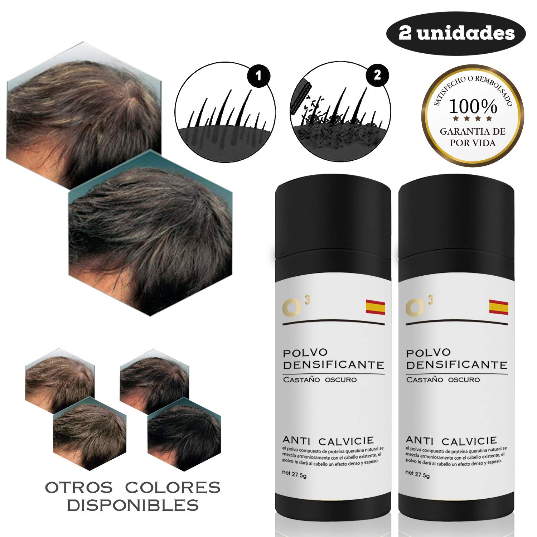 O³ Fibras Capilares Castaño Claro 27,5 G Neto – Keratin Fibers Castaño Claro 100% Natural Para Disimular Calvicie y…