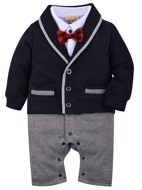 ZOEREA 1 TLG Baby Strampler Smoking für Jungen Kleinkind Kleidung Rompers Body Kleidung Gentleman Gesamt Baumwolle…