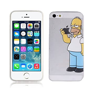 Case For IPhone 5 SE 5S Simpson Homer Eating Apple Cover Transparent TPU Soft