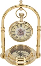 Artshai Antique style brass Table clock with magnetic compass base. Exclusive gifting idea
